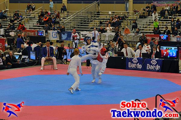 El área de combate de Taekwondo